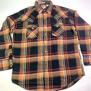 Lot of 2 Ely Cattleman Flannel Pearl Snap LS Shirt